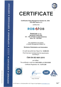 Scanned signed ISO 9001 certificate adresed to our company. Proving that our company has been established and applies a quality management system.