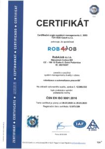 Sken certifikátu ISO 9001 adresovaného pro ROB4JOB. Důkaz o tom, že naše společnost zavedla a používá systém managementu kvality.