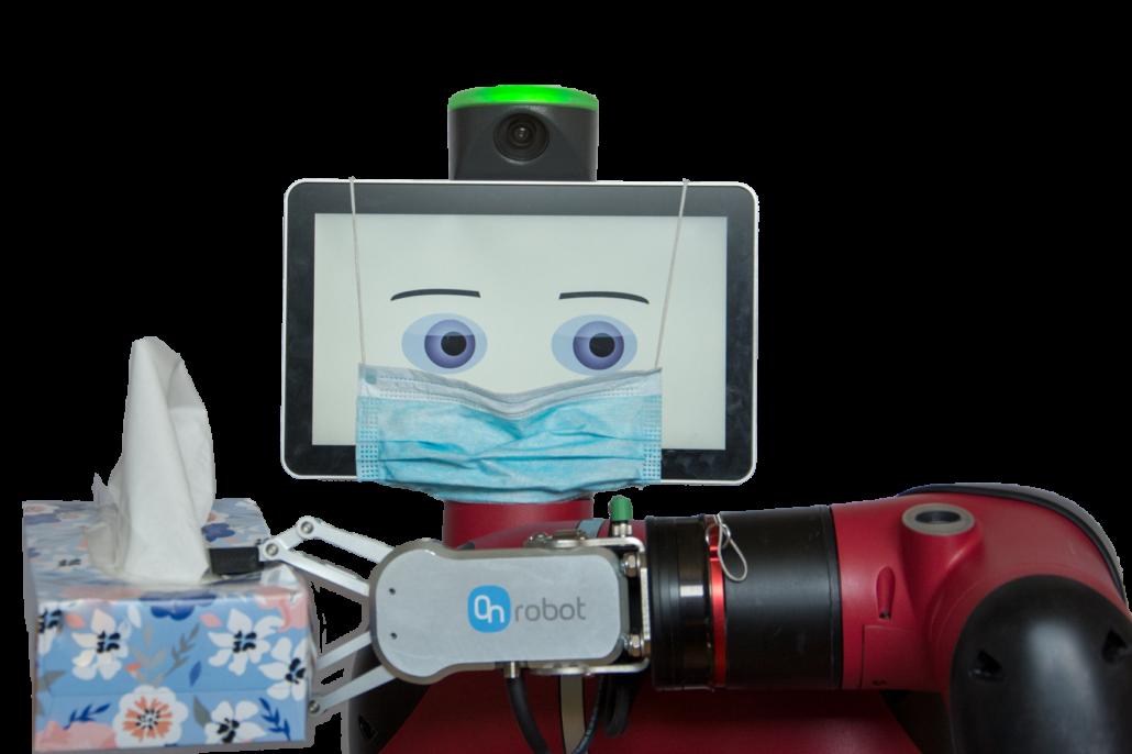 Demonstativně satirický obrázek robota v roušce